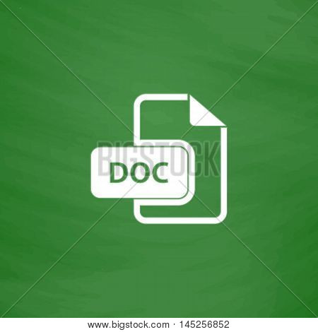 DOC vector file extension. Flat Icon. Imitation draw with white chalk on green chalkboard. Flat Pictogram and School board background. Vector illustration symbol