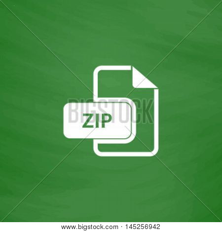 ZIP archive file extension. Flat Icon. Imitation draw with white chalk on green chalkboard. Flat Pictogram and School board background. Vector illustration symbol