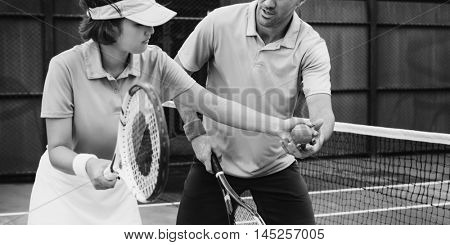 Tennis Coaching Trainer Training Exercise Active Concept