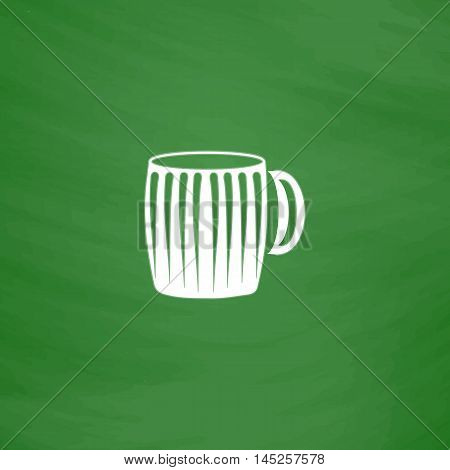 Empty beer mug. Flat Icon. Imitation draw with white chalk on green chalkboard. Flat Pictogram and School board background. Vector illustration symbol
