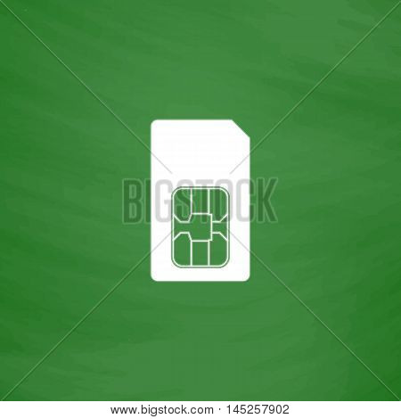 Sim card. Flat Icon. Imitation draw with white chalk on green chalkboard. Flat Pictogram and School board background. Vector illustration symbol