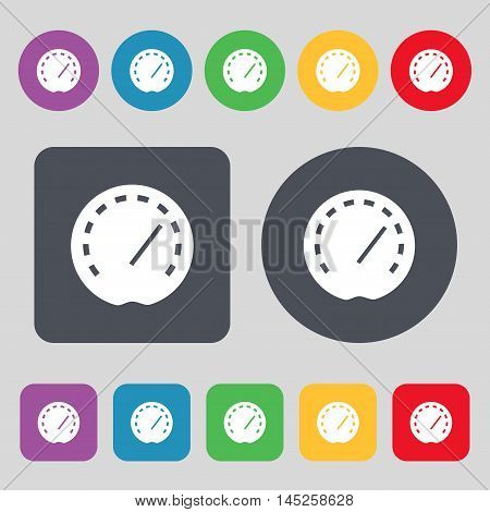 Speedometer Icon Sign. A Set Of 12 Colored Buttons. Flat Design. Vector