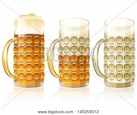 Beer glass in filled half and empty variants; Traditional crockery of bars and of pubs; Vector set Eps10