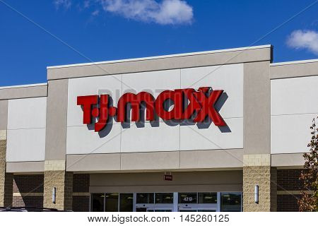 Muncie - Circa September 2016: T.J. Maxx Retail Store Location. T.J Maxx is a discount retail chain featuring stylish brand-name apparel shoes and accessories II