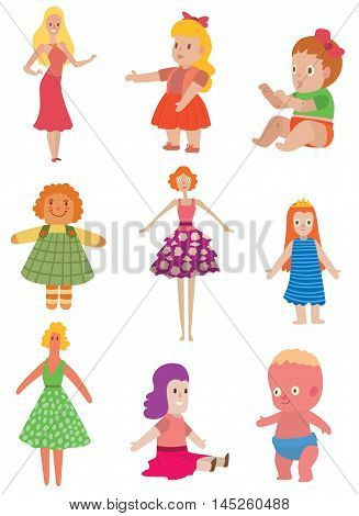 Set cute dolls game design vector illustration girl. Funny childhood play girl baby dolls toys set. Handmade plastic dolls toys beautiful collection colorful cartoon retro element.