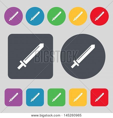 Sword Icon Sign. A Set Of 12 Colored Buttons. Flat Design. Vector