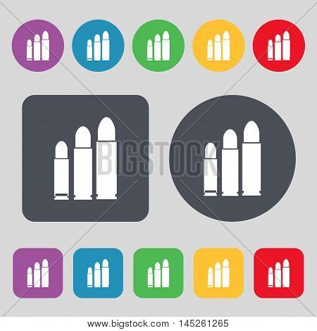 Bullet Icon Sign. A Set Of 12 Colored Buttons. Flat Design. Vector