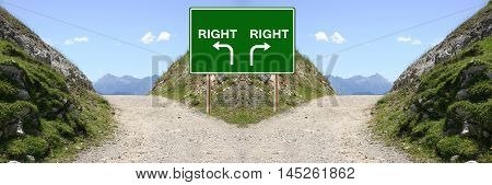 Left Or Right Mountain Road Direction Landscape Panorama