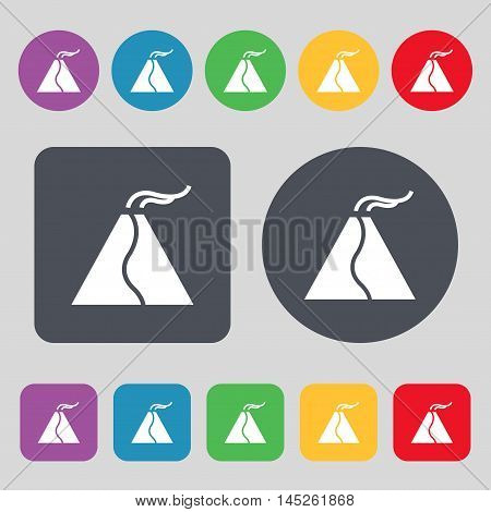 Active Erupting Volcano Icon Sign. A Set Of 12 Colored Buttons. Flat Design. Vector