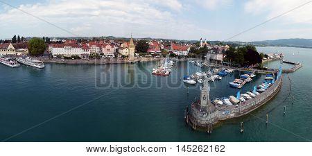 Lake Constance Church Yachts Pier Landscape Panorama