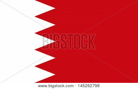 Flag of Bahrain in correct size proportions and colors. Accurate dimensions. Bahraini national flag. Vector illustration