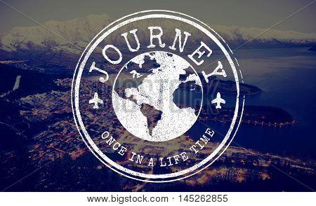 Journey Travel World Stamp Concept