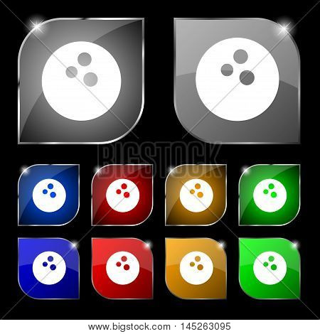 Bowling Icon Sign. Set Of Ten Colorful Buttons With Glare. Vector Sign. Set Of Ten Colorful Buttons