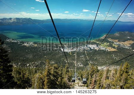 Aerial view of South Lake Tahoe, California, and Stateline, Nevada, with Lake Tahoe in the background