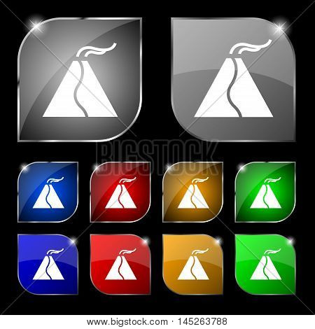 Active Erupting Volcano Icon Sign. Set Of Ten Colorful Buttons With Glare. Vector Sign. Set Of Ten C