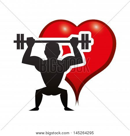 heart man muscle weight lifting healthy lifestyle fitness gym bodybuilding icon. Flat and Isolated design. Vector illustration