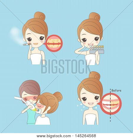 cartoon woman with dental care great for teeth whiten concept