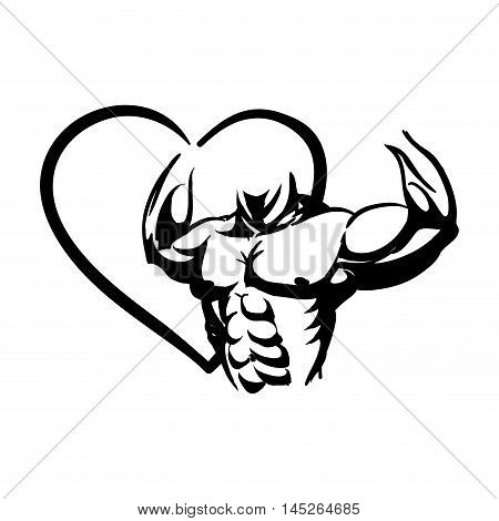 heart man muscle healthy lifestyle fitness gym bodybuilding icon. Flat and Isolated design. Vector illustration