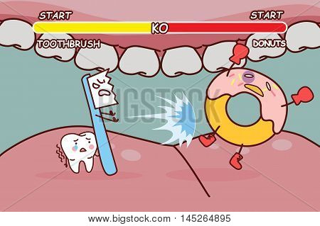 cartoon tooth brush is ko donuts great for health dental care concept