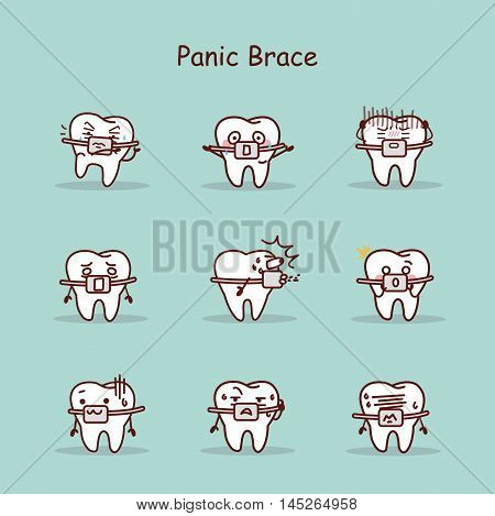 panic cartoon tooth wear brace with various expressions