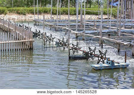 Paddle wheel aerator filling oxygen in water to treatment water