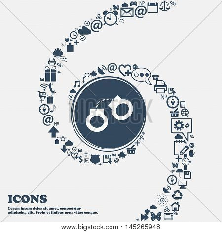 Handcuffs Icon In The Center. Around The Many Beautiful Symbols Twisted In A Spiral. You Can Use Eac