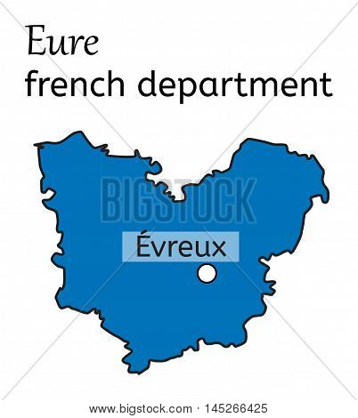 Eure french department map on white in vector