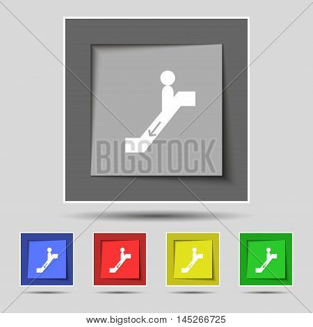 Escalator Down Icon Sign On Original Five Colored Buttons. Vector