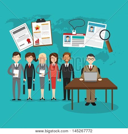 human resources table woman man avatar laptop document lupe map search employee business icon. Colorful design blue background. Vector illustration