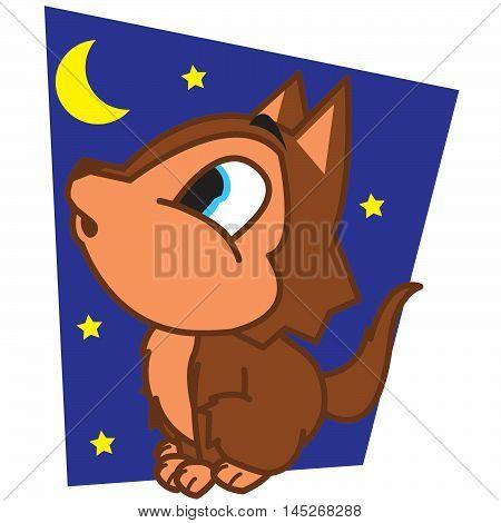 wolf at night cartoon vector art illustration