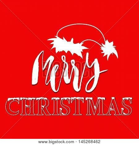 White hand drawn grunge lettering and christmas style font on red background. Silhouette of Santa Claus hat.