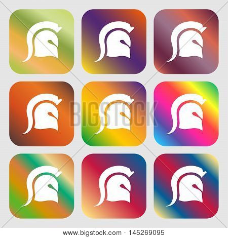 Spartan Helmet Icon . Nine Buttons With Bright Gradients For Beautiful Design. Vector