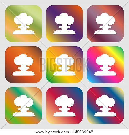 Explosion Icon . Nine Buttons With Bright Gradients For Beautiful Design. Vector