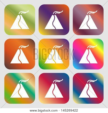 Active Erupting Volcano Icon . Nine Buttons With Bright Gradients For Beautiful Design. Vector
