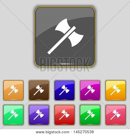 Battle Axe Icon Sign. Set With Eleven Colored Buttons For Your Site. Vector