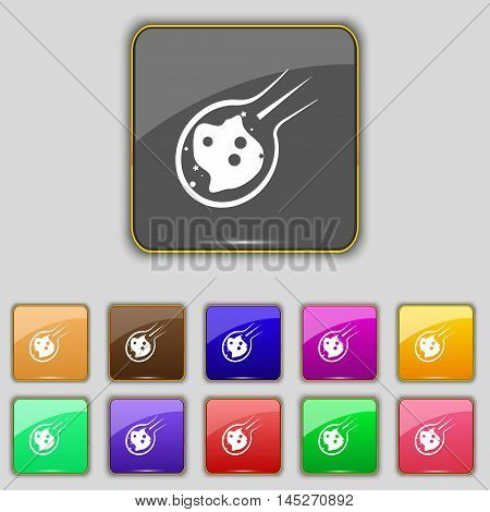 Flame Meteorite Icon Sign. Set With Eleven Colored Buttons For Your Site. Vector