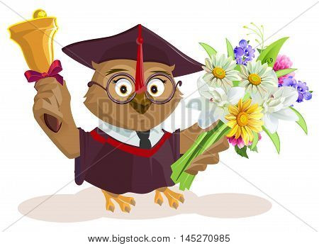 Owl teacher holding bouquet of flowers. School bell. Isolated on white vector cartoon illustration