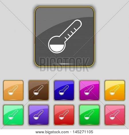 Thermometer Icon Sign. Set With Eleven Colored Buttons For Your Site. Vector