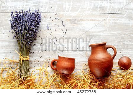 still life pottery and lavender - country life on wooden background