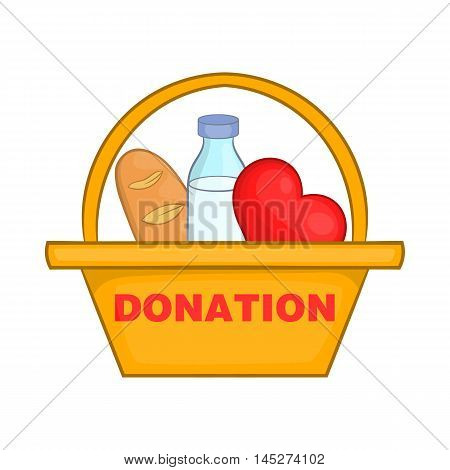 Donation box with food icon in cartoon style isolated on white background