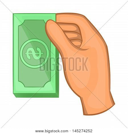 Hand holding dollar bills icon in cartoon style isolated on white background