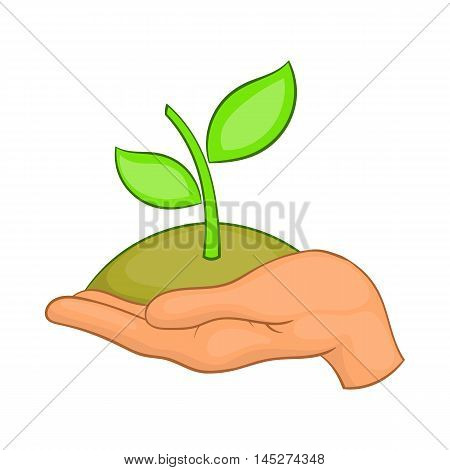 Hands with green sprout icon in cartoon style isolated on white background