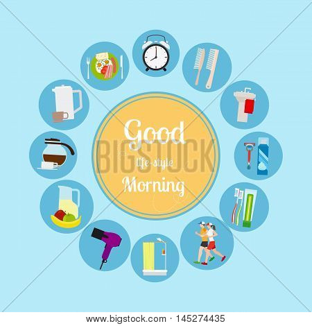 Good morning new day background. Vector illustrationa