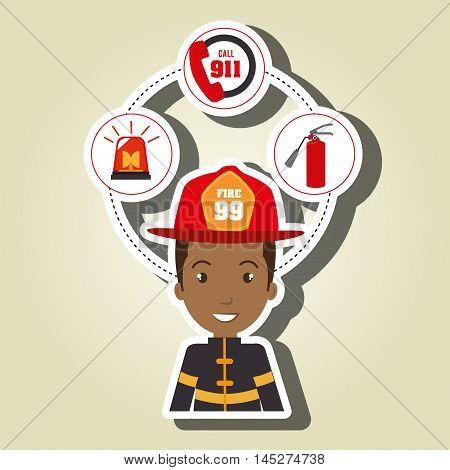man firefighter extinguisher vector illustration graphic eps 10