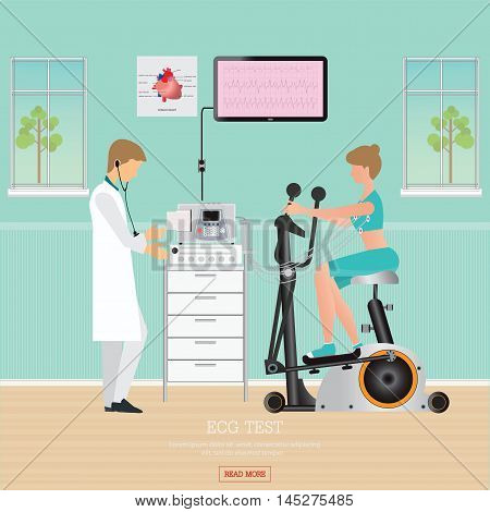 ECG Test or Exercise Test for Heart Disease on Exercise Bikes cardiology center room interior with blood pressure monitor healthy and medical flat design vector illustration.