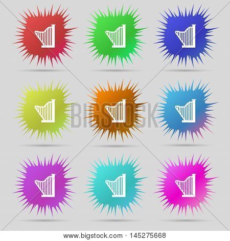 Harp Icon Sign. A Set Of Nine Original Needle Buttons. Vector