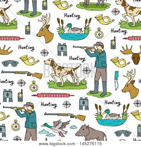 Vector seamless pattern with hand drawn colored symbols of hunting. Pattern on the theme of hobbies for men. Background for use in design, packing, web site, fabric