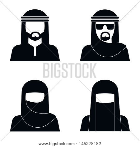 Middle Eastern people avatar in monochrome style design. Vector illustration