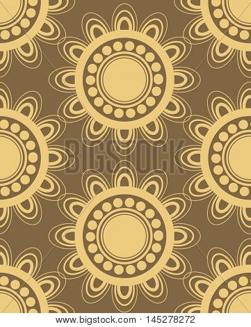 Seamless pattern in brown and yellow colors perfect for gift papers and fabrics