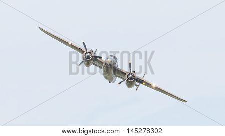 Leeuwarden, The Netherlands - June 10: Ww2 B-25 Mitchell Bomber In Dutch Markings During The Dutch A